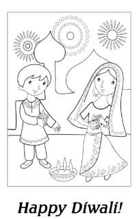 Specially For Diwali Heres A Fun Coloring Page Younger Children Featuring Two Lighting Diya To Encourage The Goddess Lakshmi Into Their Home