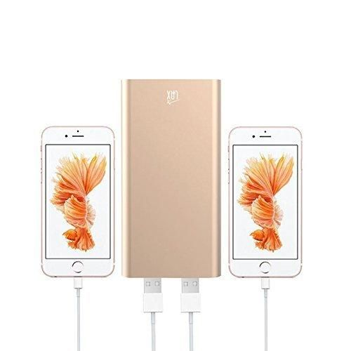 Ultra-Compact Portable Power Bank LAX 10000mAh External Battery Pack Charger Dual USB Output High Speed for iPhone Samsung Galaxy and More (Gold)