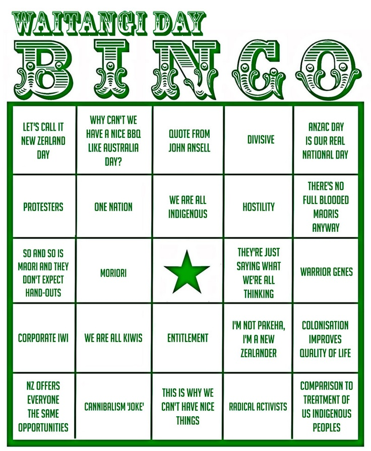 Waitangi day bingo, not going out in public today for fear of winning in the first 5 mins....