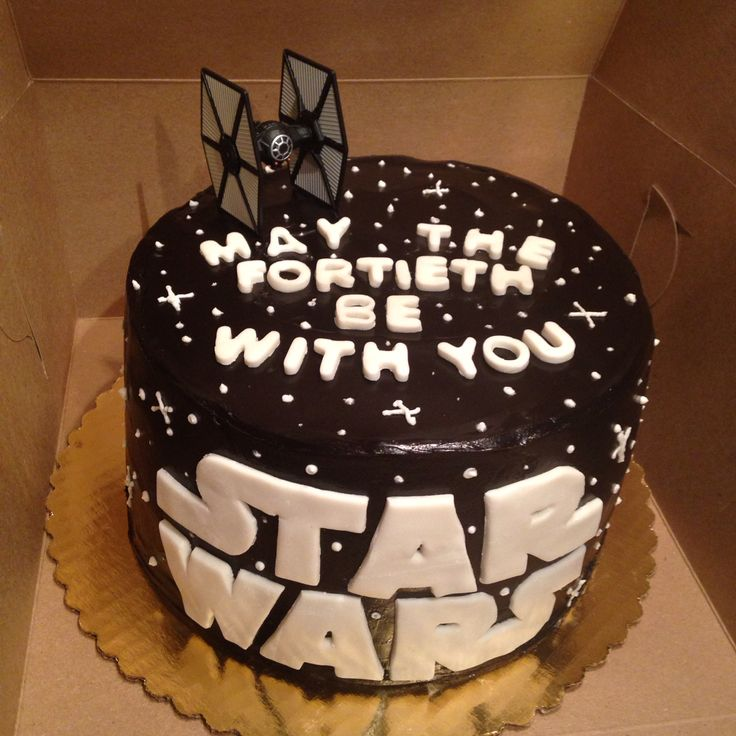 Star Wars Fortieth Birthday Cake with dark chocolate ganache!