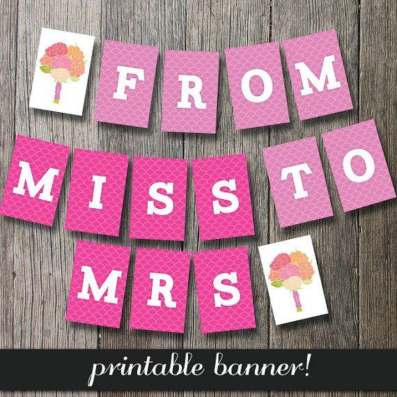 Bachelorette Banner Printable Banner Bridal by CakePrintShop