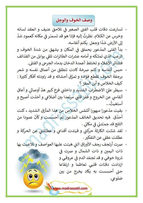وصف الخوف و الفزع Madrassatii Com Arabic Alphabet For Kids Alphabet For Kids Learn Arabic Language