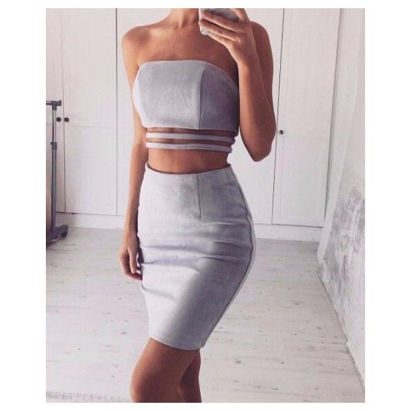 Gray Suede Lucilled Lined Two-Piece Dress ($37) ❤ liked on Polyvore featuring dresses, gray dress, 2-pc dress, grey dress, 2 piece dress and two-piece dress