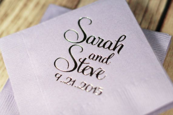 Wedding Napkins, Beverage Napkins, Foil Personalized Napkins, Wedding Napkins, Cocktail Napkins, Monogrammed Wedding Napkins, Bar Napkins
