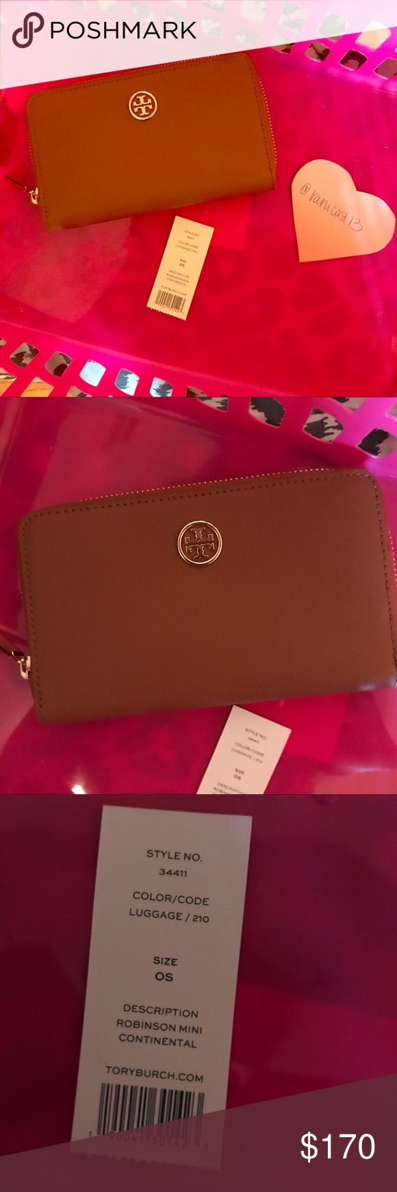 Tory burch continental wallet Brand new. Authentic. Color is luggage. Tory Burch Bags Wallets