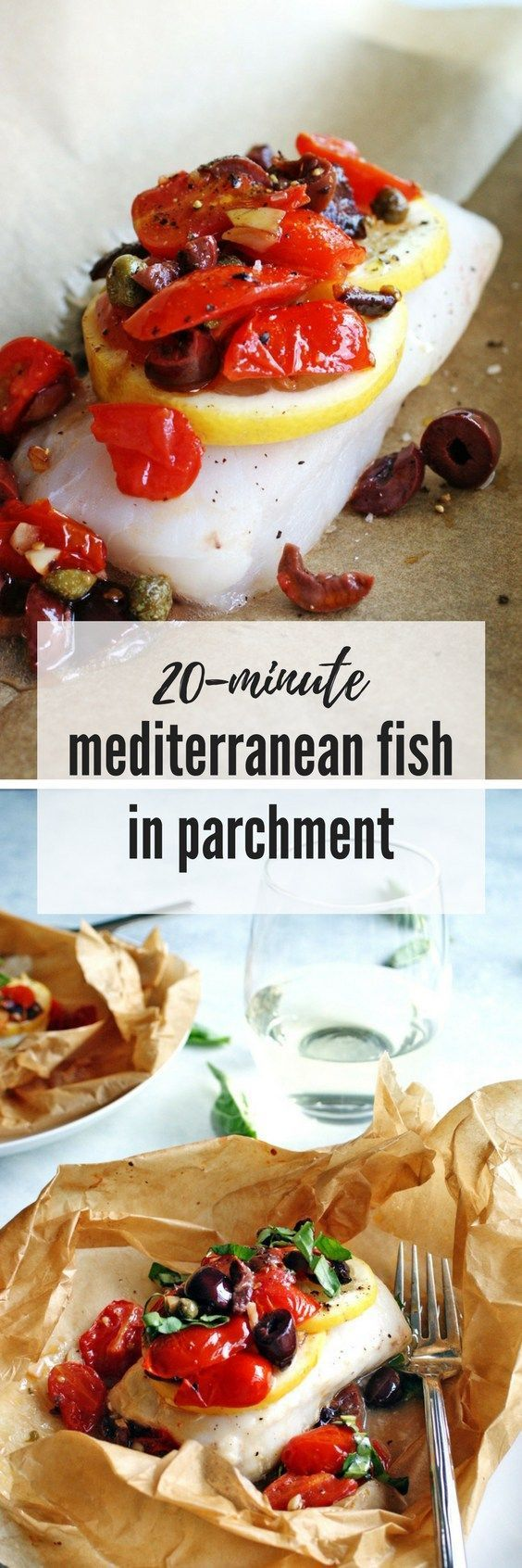 Steamed Mediterranean Fish Parcels | 20-minutes to a healthy fish dinner! #fish #seafoodrecipe #cod