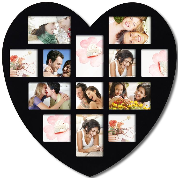 Adeco [PF0304] 13 Openings Heart Picture Collage Frame – Holds Seven 4×4 and Six 4×6 Inch Photos – Heart Shaped Wood Photo Collage Decoration – Black, for Wall Hanging – Love Picture Frame: Wedding gift