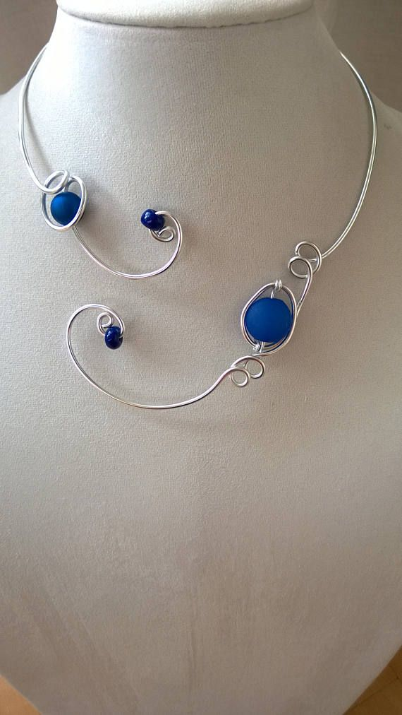Royal blue necklace Royal blue jewelry Open collar necklace