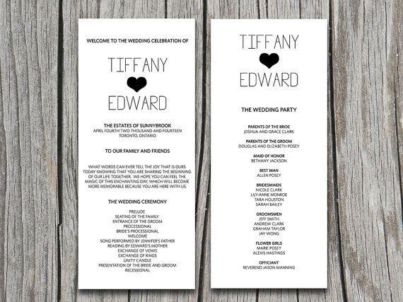 Modern Wedding Program Template Word Mini Bridal