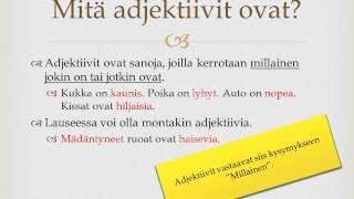 Opetustuubi - YouTube Adjektiivit