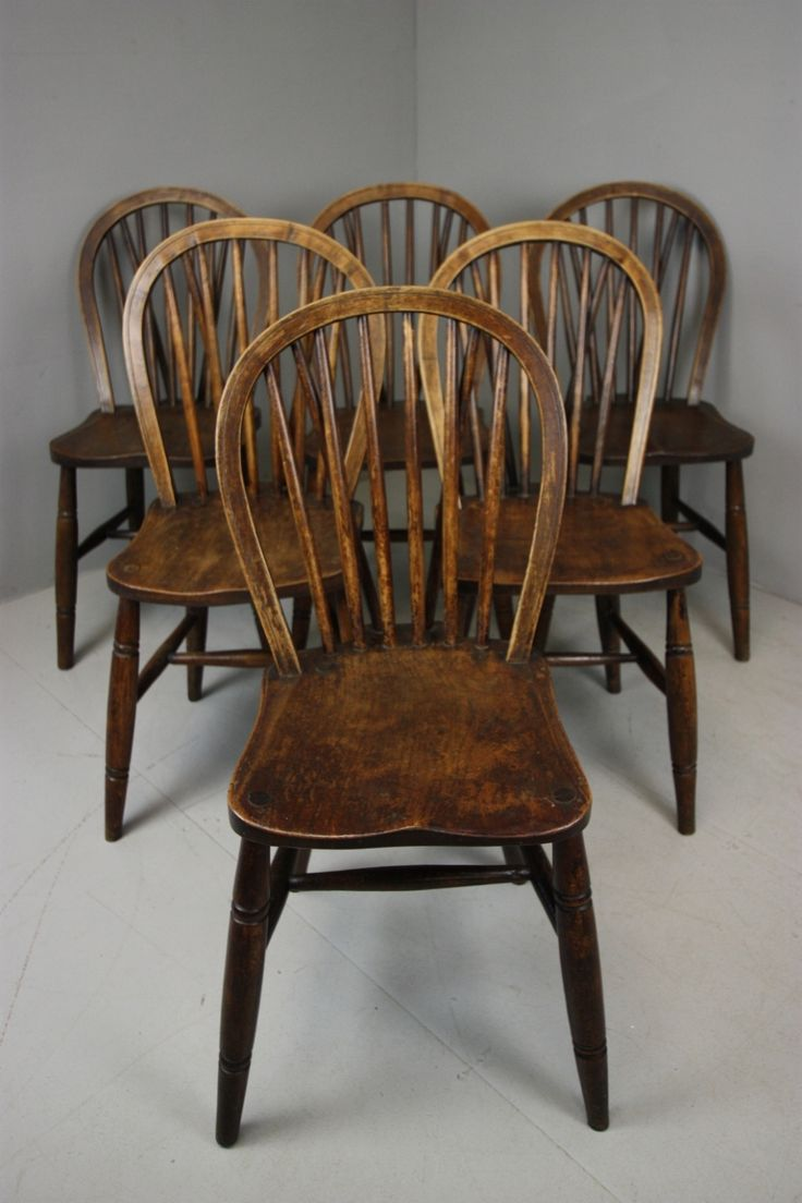 Set of Six Antique Elm Kitchen Dining Chairs