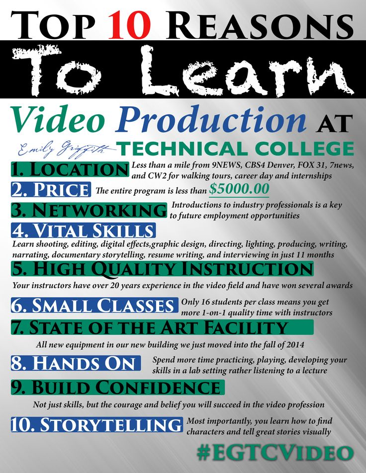 Top 10 Reason to learn Video Production at Emily Griffith Technical College