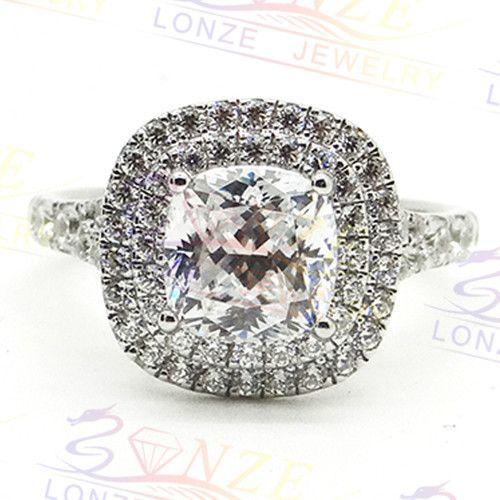 Подушка Cut 2 Карат Золота Обручальное Кольцо ASCD Имитация Алмаз Настоящее 9 К Белое Золото Diamond Обручальные Кольца и Группы предложение