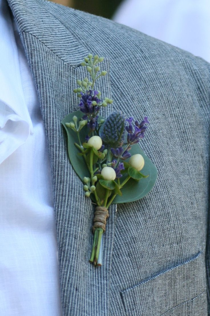 Eucalyptus, French lavender and thistles for a Bohemian inspired boutonniere.