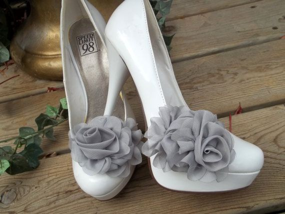 Bridal Shoe Clips  Gray Chiffon flowers set of 2 by ShoeClipsOnly, $26.00