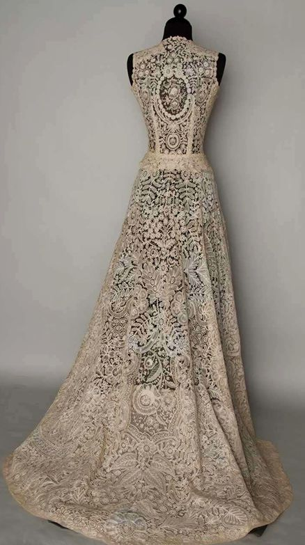 Vintage Belgian lace wedding dress. So beautiful