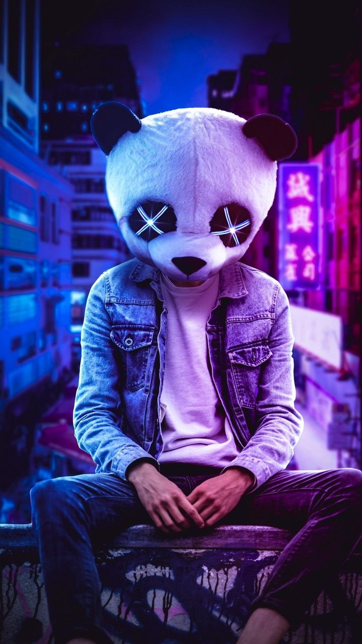 Oso panda mask neón in 2020 | Cute panda wallpaper ...