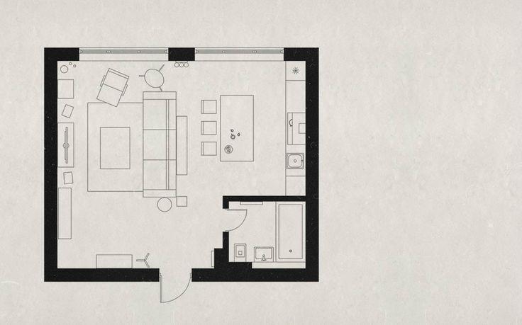 """Den-loft., автор Design Group NORDES, конкурс """"лучший 3d-интерьер однокомнатной квартиры""""   PINWIN - конкурсы для архитекторов, дизайнеров, декораторов"""