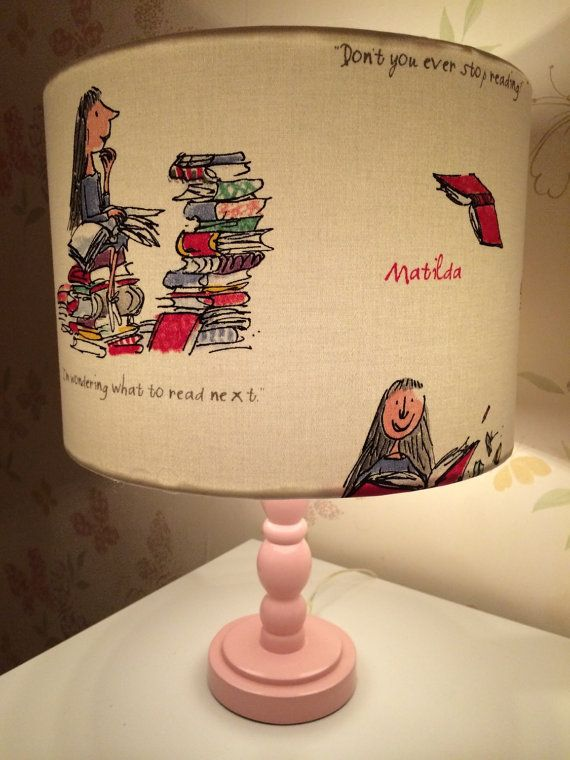 Lovely handmade lampshade in Quentin Blakes Illustration for Roald Dahls Matilda 30cm drum shade for use on ceilings or lamp (please specify