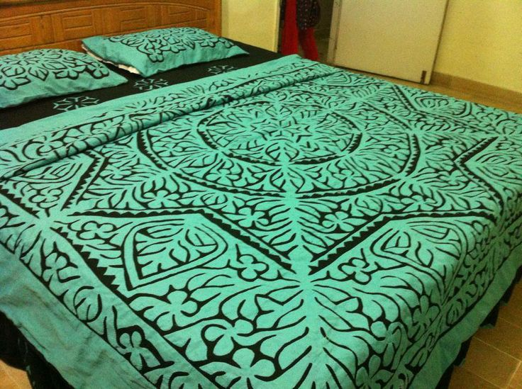 "Hand Made Applique Bed Sheet. Color guarantee. Fabric Pure Cotton. Size 108"" by 96"" inches..279 cm by 249 cm. 8 piece bed sheet. 1 sheet, 1 quilt cover, 2 pillow, 2 cushion, 2 cylinder pillows. Gently wash. imported. Price 150 US $."