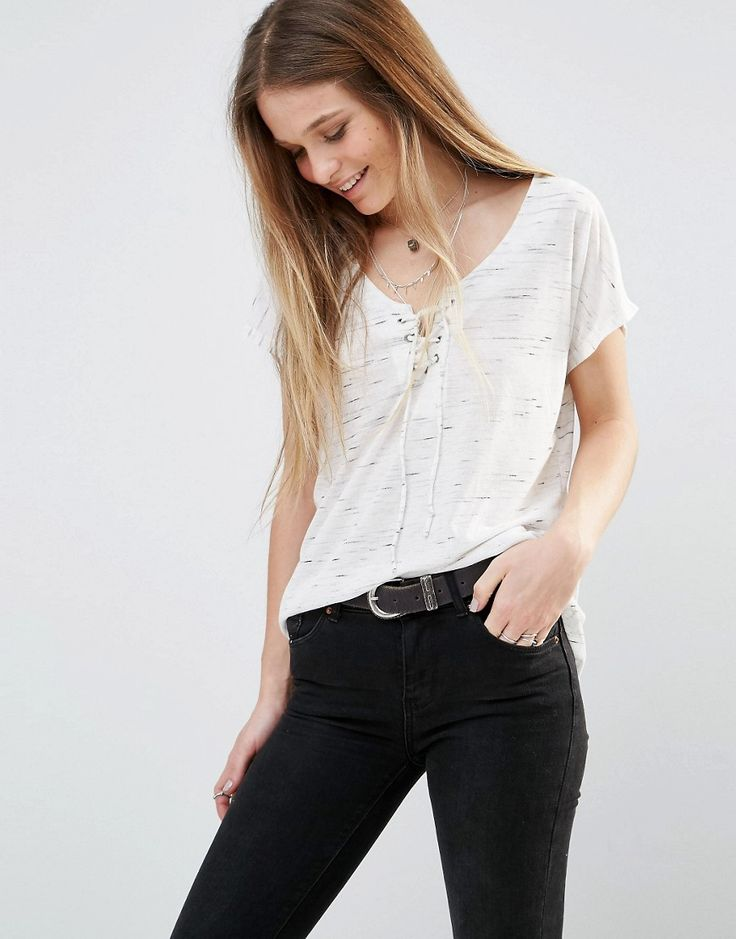 Image 1 ofPimkie Lace Up Jersey Top