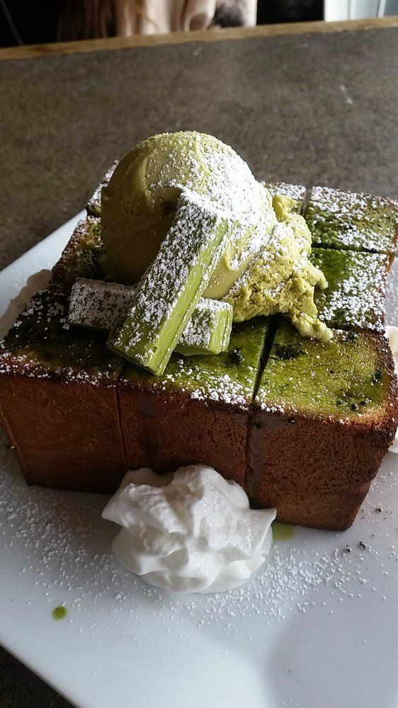 Chimney Coffee House - Los Angeles, CA, United States. Matcha green tea brick toast Someone take me here.
