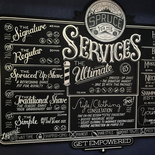 Here she is...the giant services menu for #Sprucemen. A project that's been cooking for a while now. A 6'x5' sign painted on MDO with live data elements. Every service has a real-time display of its wait time. The logo on top is made of frosted plexiglass with programmable RGB LEDs behind it that can glow any color. We're really proud of this rather massive project. Not chalk this time but in the style we like. #handlettering #chalklatier #denver #denverbusiness #signpainting #signage…
