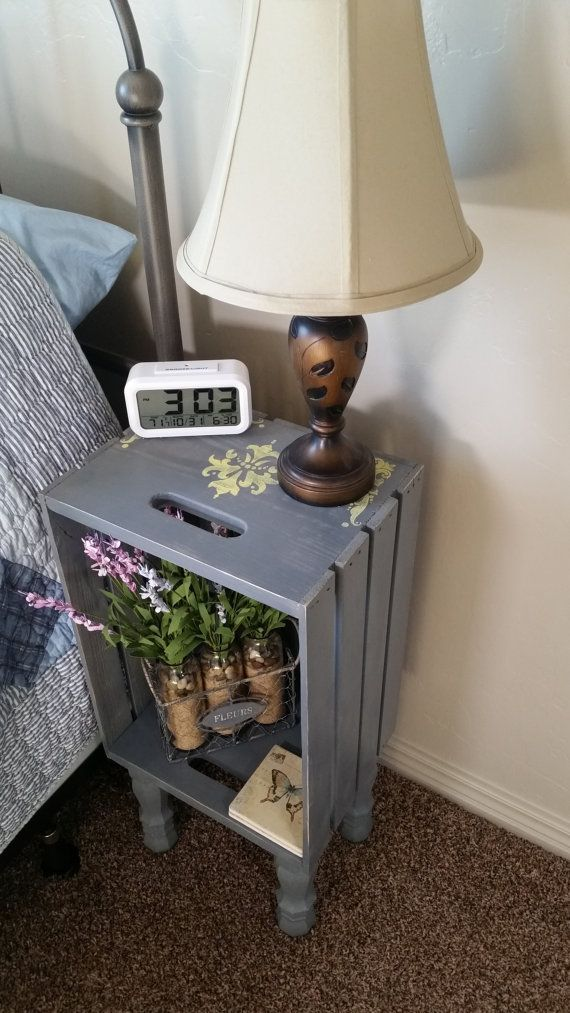 awesome Gray Wooden Crate Nightstand, With legs, Hand painted, Stenciled Yellow, Bedside table, or End Table by http://www.best99-home-decor-pics.club/diy-home-decor/gray-wooden-crate-nightstand-with-legs-hand-painted-stenciled-yellow-bedside-table-or-end-table/