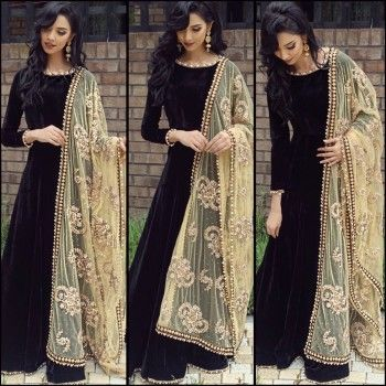 Satin Machine Work Black Semi Stitched Long Anarkali Suit - BLH