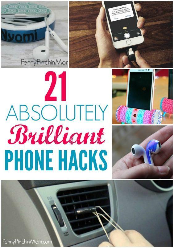 21 Brilliant Phone Hacks | Genius Phone Hack Ideas | Phone Hacks | DIY  via @PennyPinchinMom