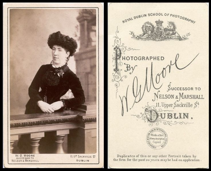 Studio CdV - N G Moore, 11 Upper Sackville Street, Dublin (unknown lady)