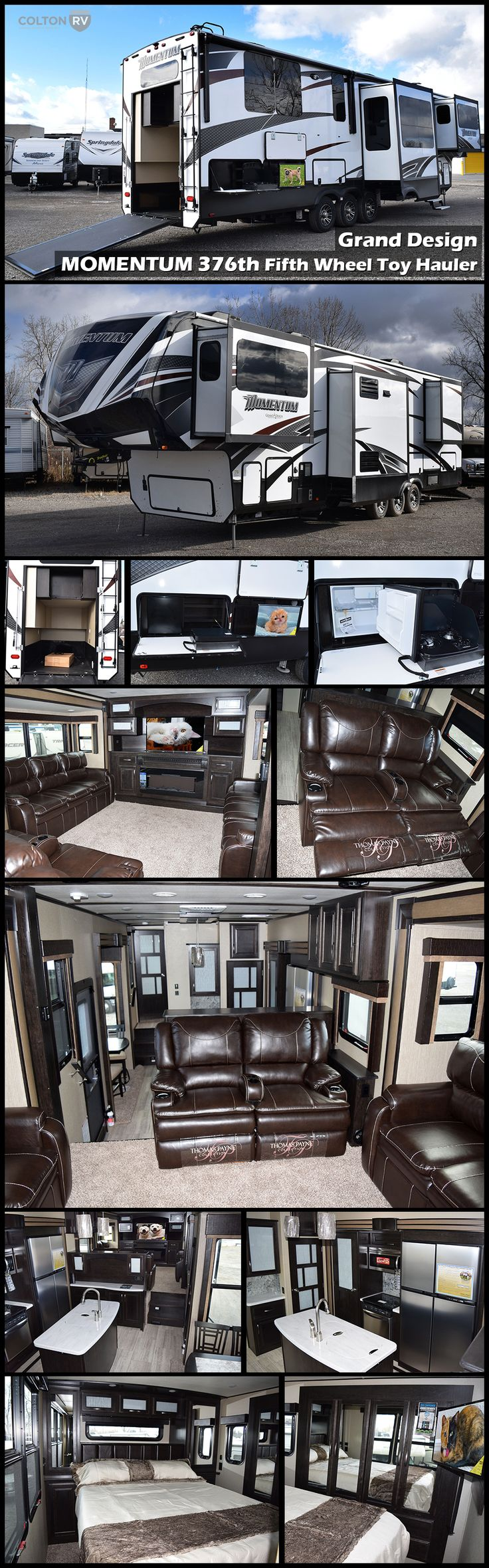"This unique 2017 GRAND DESIGN MOMENTUM 376TH Fifth Wheel Toy Hauler features a rear master bedroom above a 9' garage. Just outside the bathroom, step down into a spacious kitchen and dining area. Head up the steps to the raised front living and entertainment area with theater seating and TWO 80"" tri-fold sofa/bed, plus a 50"" TV with fireplace! Oh, don't forget the outdoor kitchen and TV. The convenient enclosed fuel pump station for your toys will allow the fun to continue all weekend long!"