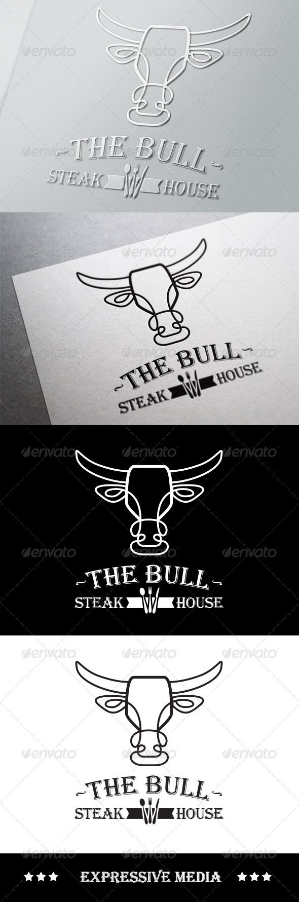 The Bull - Steak House  #GraphicRiver         Brand your Steak house or Country Kitchen with the ultimate logo! Wow your guests with your amazing, memorable logo and show them your business is one to be trusted with your unique, family friendly branding!