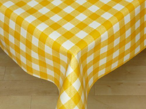 Yellow Gingham Pvc Plastic Tablecloth X In Home U0026 Garden, Tableware, Table  Linens
