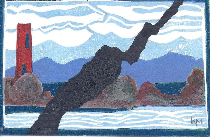 """Kathleen Munson """"You can't go home again"""". Linocut and water colour. $20.00"""