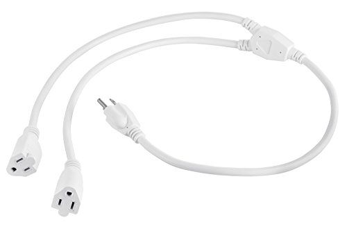 Aurum Cables 3 Prong 1-to-2 Power Cord Splitter Cable - Power Extension Cord - Cable Strip Outlet Saver - Outlet Splitter Electrical Cord - 3 Ft - 16AWG - UL approved - White