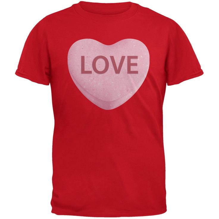 Valentine's Day Pink Love Candy Heart Red Adult T-Shirt