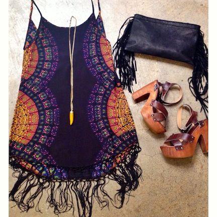 ✪☯☮ॐ American Hippie Bohemian Style Boho ~ Slip Dress Shoes Outfit