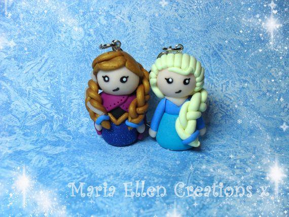 Disney Elsa et Anna congelé inspirent charme d'argile polymère, porte-clés, topper gâteau, kawaii, congelés bijoux