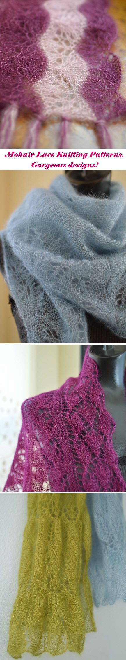 Knitting Pattern for Mohair/Silk yarn. Lots of gorgeous lace designs! #knitting SweaterBabe.com