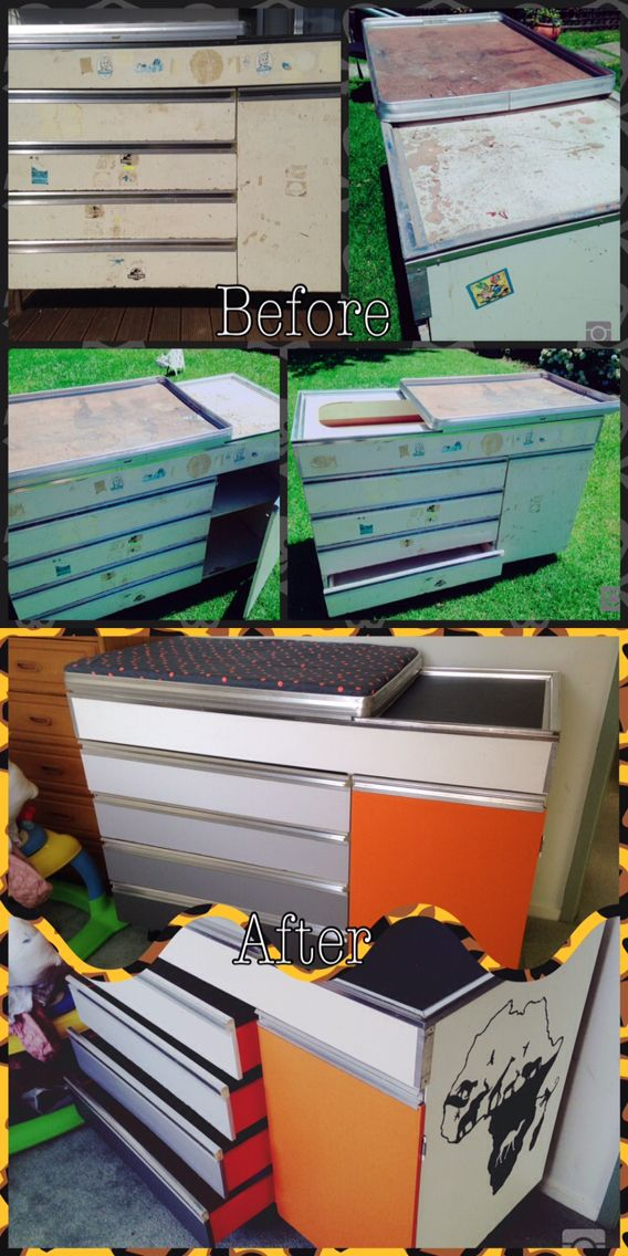 A 40yo change table given to my mum second hand when I was a baby (28 years ago), used as a tool cabinet in my dad's shed for 25 odd years and now upcycled for use in its original intended form for my first child. All for less than $40!