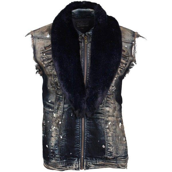 Luca Blue Vest ❤ liked on Polyvore featuring outerwear, vests, blue vest, navy vests, blue waistcoat, navy blue waistcoat and fur vest