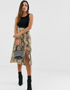 c92b142565 PrettyLittleThing floaty midi skirt with split in snake | Snakeskin ...