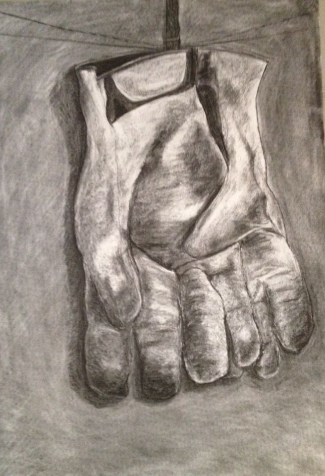 Dirty gloves. Charcoal. Inspired the abstraction and experimental drawings in this board. Possibly the loveliest drawing I have done to date.