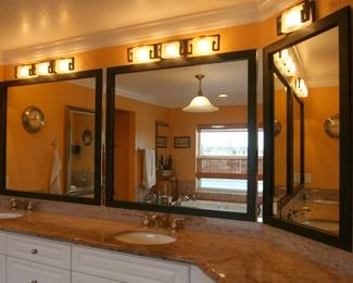 Peel and stick bathroom mirror frames bathroom makeover - Stick on frames for bathroom mirrors ...