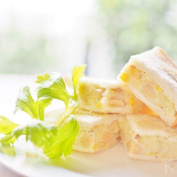 ツナポテトサラダに大豆とコーンを加えたお豆の甘みと食感を楽しめるオープンサンドです。