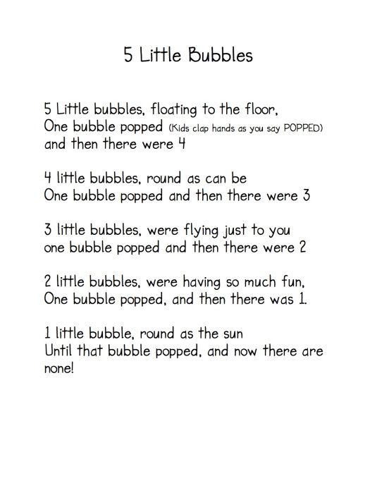"""5 Little Bubbles"" Poem / Fingerplay (from Kindergarten Nana)"