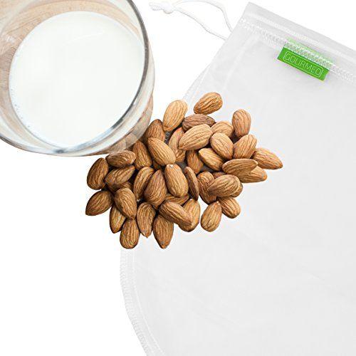 GOURMEO sac à lait végétal 100% nylon pour lait de noix ou d'amande végane I 2 ans de garantie de satisfaction I sac à lait de noix, sac –…