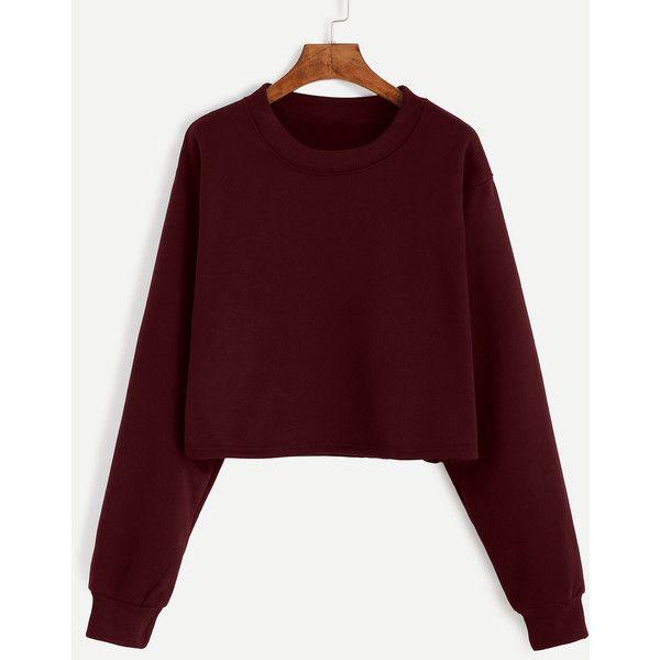 Burgundy Drop Shoulder Crop Sweatshirt ($15) ❤ liked on Polyvore featuring tops, hoodies, sweatshirts, burgundy, cotton crop top, burgundy crop top, red sweatshirt, red crop top and cotton pullovers
