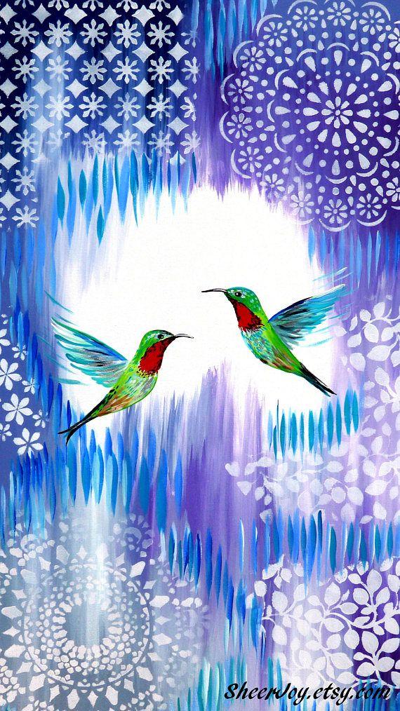 painting of a hummingbird hummingbird art on canvas purple